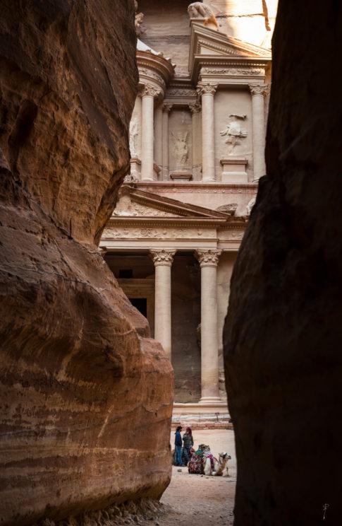 Camello descansando en frente de Petra, el tesoro de Jordania